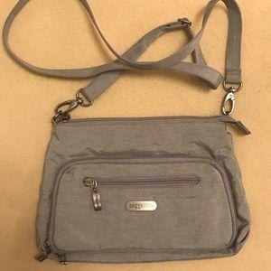 Silver Nylon Shoulder Bag